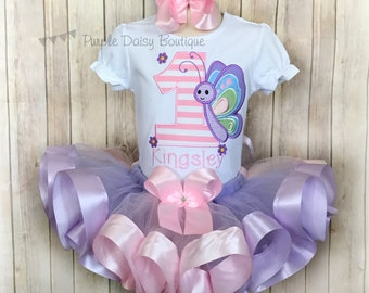 Butterfly Birthday Outfit - Spring Birthday Ribbon Trim Tutu Outfit - First Birthday Outfit - Pink and Purple Tutu Outfit