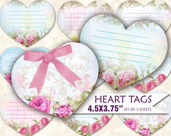 Printable romantic heart gift tags (458)  Labels shabby vintage Paper Craft Greeting Buy 3 - get 1 bonus