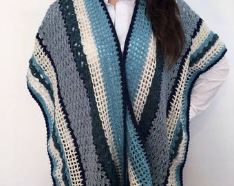 Open wool mixed Poncho made by hand crochet