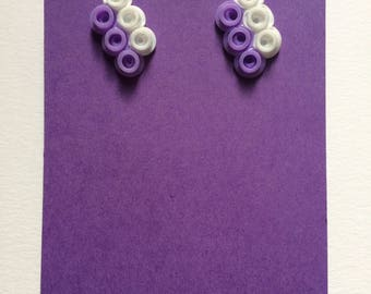Purple and white parallelogram earrings