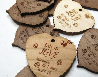 1.75 x 1.75 Leaf Tags - Custom Wedding Tags - Wood Wedding Tags