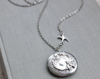Bird Locket Necklace in Antique Silver