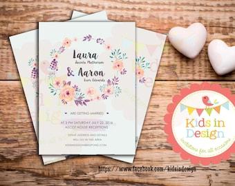 Personalised Invitation, Save-the-Date, Wedding Invitation, Casual, Custom print, Modern Invitation