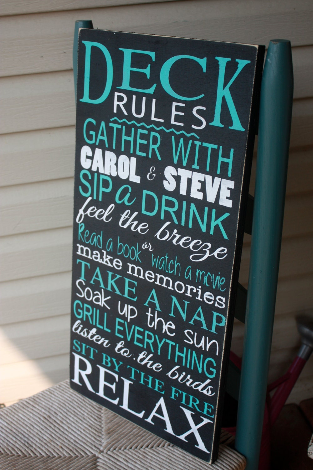 Relatively Deck sign, Outdoor decor, Deck Rules wooden sign, personalized  GN16