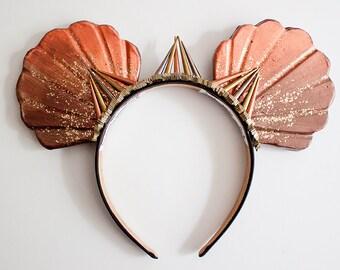 Copper Mermaid Ears / Crystal Crown / Mermaid Crown / Mermaid Mouse Ears