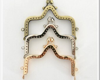 Squared Special Shape Kisslock Frame Hoop w/ Holes ,Handle w/ Metal, 9.5 cm/ 3.7 inch Width, 1 PCS