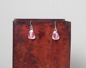 Pink Cats Eye Earrings, Silver Tone, Pierced Ears, Small Drop Dangle, Hippie, Boho, Bohemian, 90s Style