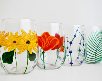 Mother's Day Bouquet - 4 Piece Hand Painted Stemless Wine Glass Collection - Mother's Day Gift - Poppy, Sunflower, Lavender, Fern Glasses