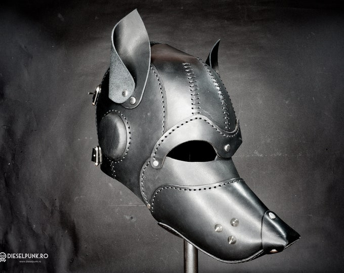 Leather Dog Mask - Fetish Mask - Slave Mask - Sex Mask - BSDM Mask - pup play mask - Pup Hood
