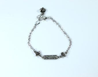Floral bar and rose bracelet gift for her women jewelry chain petite delicate layering
