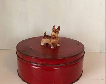 Red Canister Metal Tin Vintage Canister Round Canister Flat Canister Flat Round Canister 1940's Canister Tin Large Storage Canister