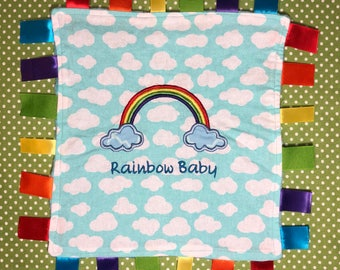 Rainbow Baby Taggy, Taggy, Baby Toy, Teething Blanket, Sensory Toy, Rainbow Baby, Baby Shower Gift