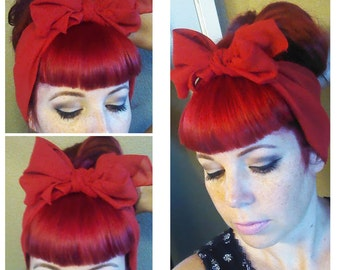 Christmas Red Vintage Style Chiffon Hair Scarf Headwrap Hair Bow 1940s 1950s Rockabilly - Pin Up - For Women, Teens Scarves