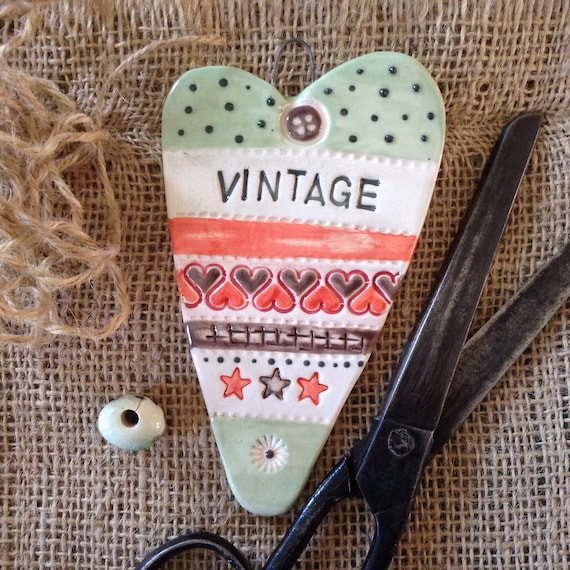 Handmade Ceramic Hanging Heart, vintage theme, antiques, pattern, colour, folk art