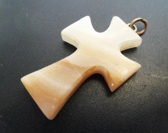 Banded Agate Cross Pendant