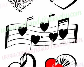 Music SVG - Music Hearts SVG - Music Lover's SVG - Digital Cutting File - Cricut Cut File - Instant Download - Svg, Dxf, Jpg, Eps, Png