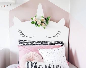 Bespoke whimsical Unicorn headboard - childrens bedroom - unicorn bed - kids whimsy