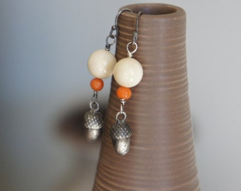 Acorn Earrings with Antique Coral