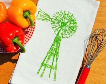 Tea Towel - Green Wooden Windmill Hand Screen Printed - Cotton - Absorbent Rustic Towels - Country Cottage Linens - Wedding Gift