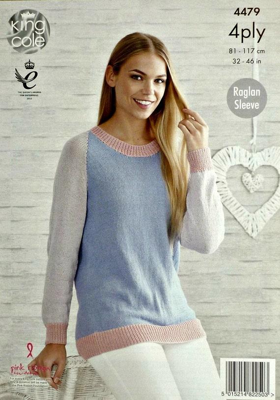 Frauen stricken Muster K4479 Damen Langarm Rundhals-Pullover
