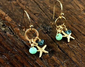Gold Starfish Dangle Earrings with Blue and Aqua Gemstone Accents / Flash Sale / Summer Jewelry / Delicate Earrings / Beach Gift