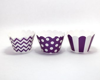 20 purple chevron polka dotted dot striped Cupcake holders wrappers  favor treat candy buffet first birthday party wedding baby shower
