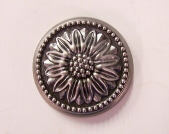 Architectural salvage - large vintage metal drawer pull - floral - over 2 inches - sunflower