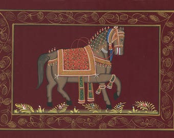 Horse in Red Background, Art of Jaipur, Mixed Media
