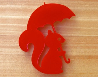 Squirrel with Umbrella red or blue laser cut brooch