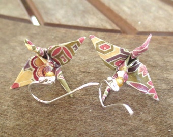 Origami earrings, colorful paper crane earrings, Asian Japanese earrings, origami jewelry, cute earrings, colorful earrings