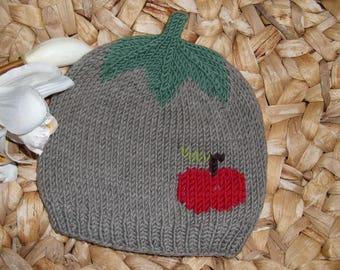 Apple Harvest 2: Baby and children's cap with red apple from 100% merino wool-in many sizes