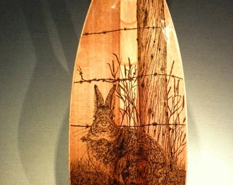 """Wooden Canoe Paddle, Western Red Cedar """"Simplicity"""", with Original Pen and Ink Drawing of a Cottontail Rabbit"""