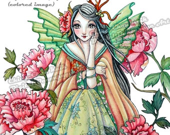 Pre-Colored- Peony Dawn -Instant Download Digital Printable Decoupage Art / Asian Oriental Flower Fairy by Ching-Chou Kuik