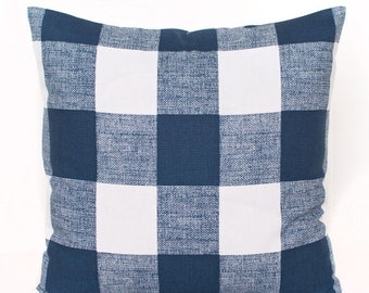 SALE ENDS SOON Navy Gingham Throw Pillow, Plaid Navy Pillow Cover, Picnic Blanket Print Pillow, Boys Room Decor, Navy Toss Pillow