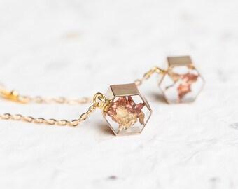 Floating Gold Leaf Modern Earrings Geometric Hexagon Transparent Resin long chain dangle earrings Minimalist OOAK Jewelry minimal chic