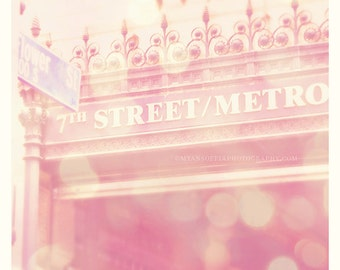 photography, 7th Street metro, downtown Los Angeles photograph, pink decor, urban city street transportation subway, Dtla, travel print