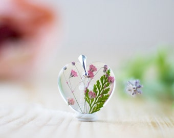 Pink Real Flower Necklace - Pink Gypsophila Green Fern , Gifts for Her , Pressed Flower Necklace , Wildflower Necklace , Resin Pendant