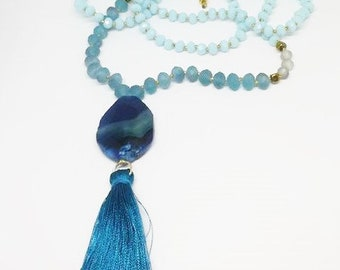 Blue boho chic tassel necklace with large agate central pendant / rosary / light blue crystal beads