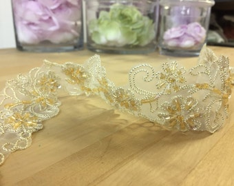Gold beaded floral lace trim