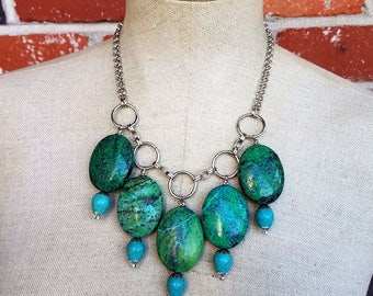 Mountain Mama- Chrysocolla & Howlite Recycled Chain Bib Necklace