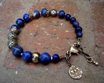 Lapis Lazuli Bracelet / Bohemian Bracelet / Spiritual Journey / Third Eye / Yoga Bracelet / Blue Bracelet / Boho Jewelry