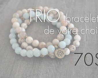 TRIO de bracelets - pierres naturelles - bois - commande personnalisée - sauf rose gold - faites votre choix - Coco Matcha