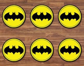 Batman Cupcake Toppers - Batman Stickers - Black & Yellow Logo - Batman  Birthday - Batman