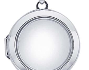 "Sterling silver locket pendant floating glass 1"""