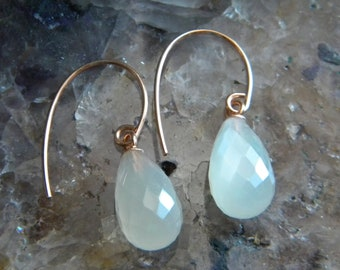 Moonstone Earrings, White Faceted Moonstone Earrings, Womens Jewelry, Semi Precious Gemstone Earrings, Rose Gold Filled, KarenWolfeCreations