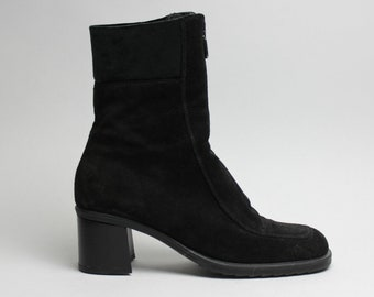 90's black suede chunky AQUATALIA zipper boots US 8