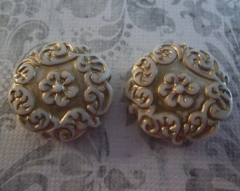 Cream & Gold Coin Beads - 22mm Round Beads - Mediterranean Design - Lucite from Germany - Qty 2