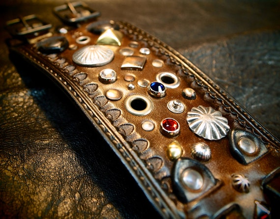 Leather cuff Bracelet Brown Jeweled, studded, stamped, Pirate Treasure cuff made for YOU in USA by Freddie Matara!