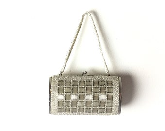 Silver clutch, Evening bag, 1960s Beaded bag, silver formal bag, vintage clutch, beaded formal bag, 1950s clutch
