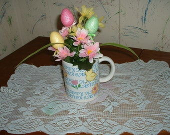 Happy Easter Coffee Cup floral arrangement